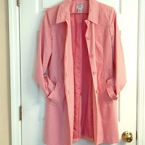 Flirty and fun Pink and White Loft Trench